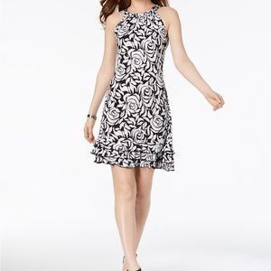 MSK Oscar Sequined Floral Ruffle Dress Black/White